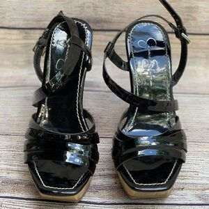 Jessica Simpson black glossy Wedges
